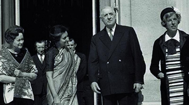 Former Prime Minister Indira Gandhi with former French president Charles de Gaulle in Paris on March 25, 1966
