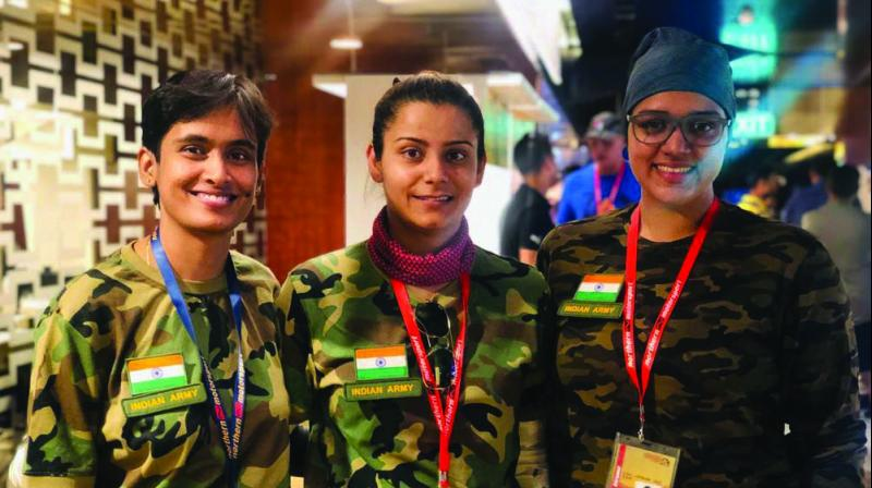 From left: Major K. Renuka (first woman biker from Army), Major Euthica (driver), Captain Tejal Parashare (navigator).