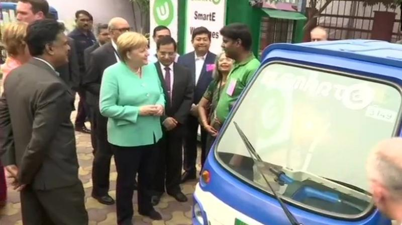 Merkel pledged to spend one billion euros--about Rs 8,000 crore at current exchange rate—in the next five years on green urban mobility in India, as part of German-Indian partnership projects. (Photo: File)