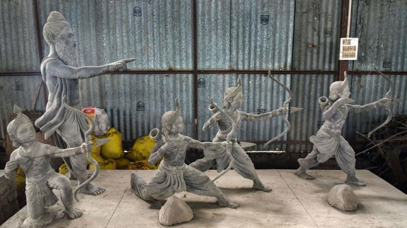 Some among the idols depicting events in the life of Lord Ram, that are planned to be used as part of the construction of the Ram Temple, at a workshop in Ayodhya. PTI photo