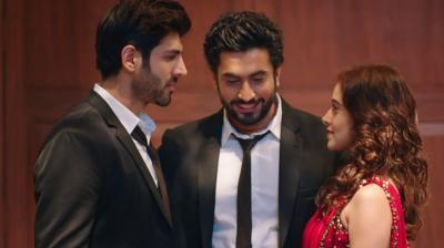 Kartik Aaryan, Sunny Singh and Nushrat Bharucha in a still from 'Sonu Ke Titu Ki Sweety.'