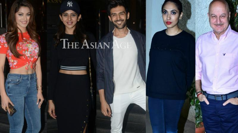 With their film releasing on Friday, the teams of 'Welcome to New York' and 'Sonu Ke Titu Ki Sweety' held screenings for the industry at separate events in Mumbai on Thursday. (Photo: Viral Bhayani)