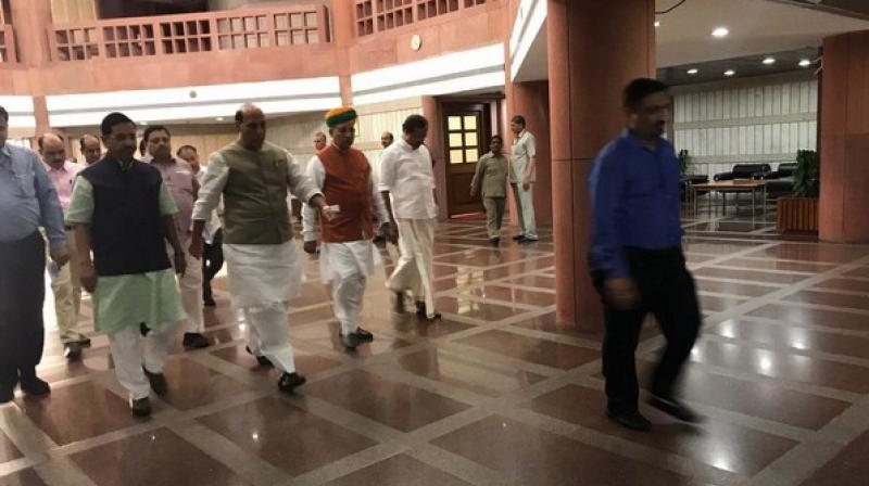 Among those who arrived for the meeting were Defence Minister Rajnath Singh, SP leader Ram Gopal Yadav, Minister of Parliamentary Affairs Prahlad Joshi and leader of BJP in Rajya Sabha Thawar Chand Gehlot.