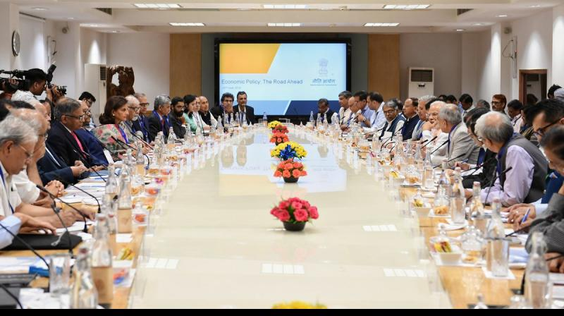 The session organised by Niti Aayog on 'Economic Policy - The Road Ahead' was attended by over 40 economists and sectoral experts. (Photo: Twitter @narendramodi)