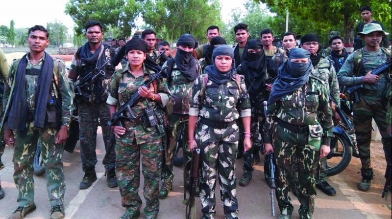 Commandos of women district reserve group (DRG) of Chhattisgarh police, in action.