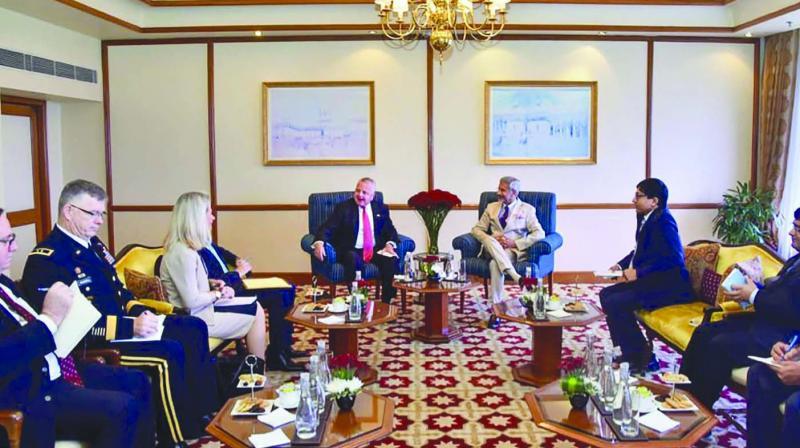 External affairs minister S. Jaishankar and United States deputy secretary of state John Sullivan during  a meeting in New Delhi on Friday. (Photo: PTI)