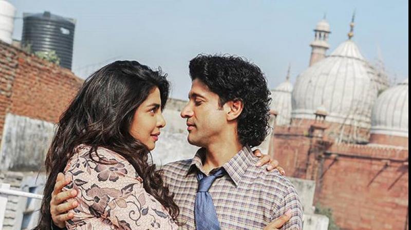 Priyanka Chopra & Farhan Akhtar in a still from The Sky Is Pink.