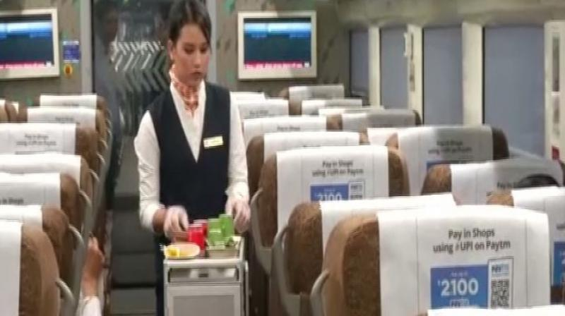 In a big step aimed at enhancing passengers' convenience, the IRCTC has brought 34 trained air hostesses and flight steward on Vande Bharat Express. (Photo: ANI)