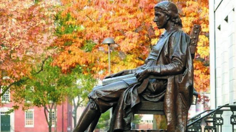 The statue of John Harvard at Harvard Yard