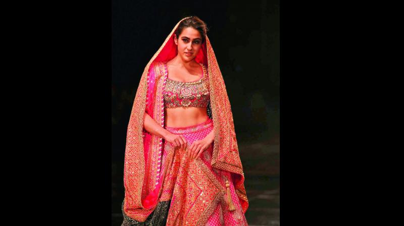 Sara Ali Khan walked the ramp for Abu Jani Sandeep Khosla at Blenders Pride Fashion Tour 2020.