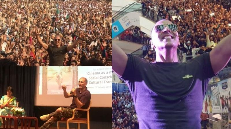 Akshay Kumar took the promotions of his upcoming film 'Pad Man' to the city of Pune with multiple events being held for the occasion. (Photo: Twitter)
