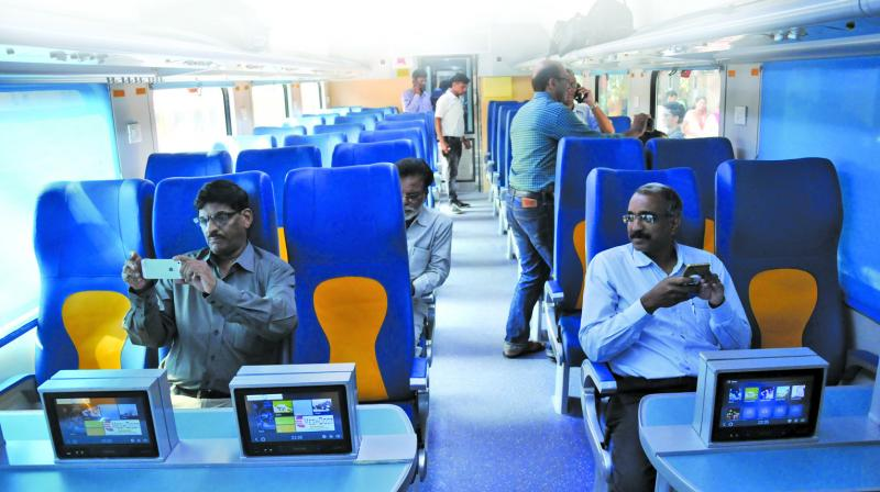 Passengers inside the amenities-rich Tejas during the journey to Goa on Monday. (Photo: Debasish Dey)