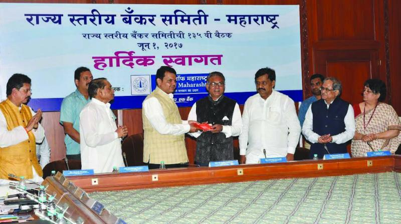 Chief minister Devendra Fadnavis at the meeting with state bank heads on Thursday.