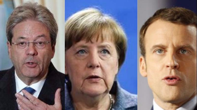 Italian Prime minister Paolo Gentiloni, German Chancellor Angela Merkel and French President Emmanuel Macron reaffirmed their strongest commitment to swiftly implement the Paris accord and urged all the other partner countries
