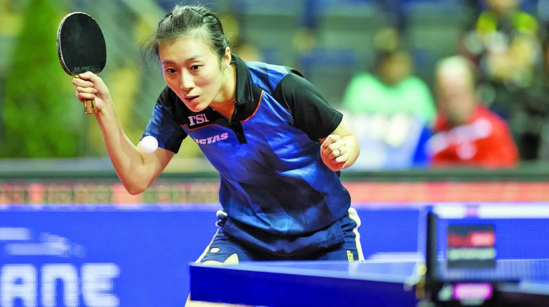 World No. 9 in women's ranking Han Ying of Germany.