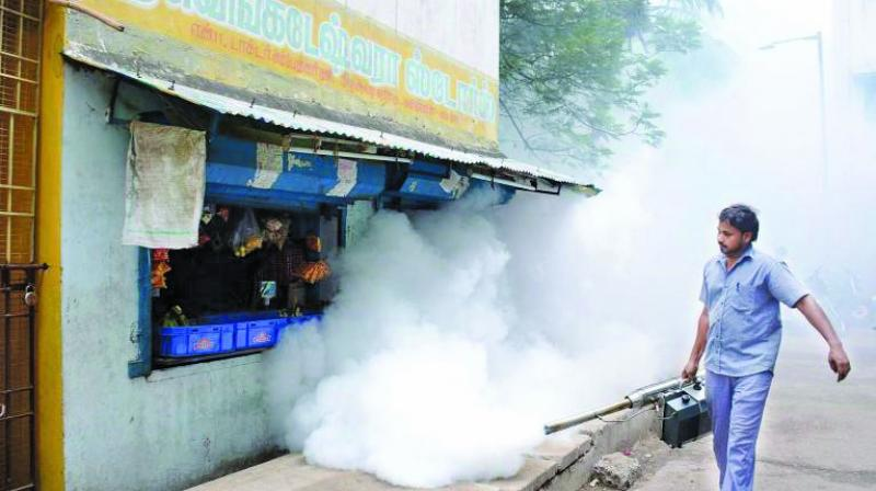 A BMC staffer fogging at L-ward.