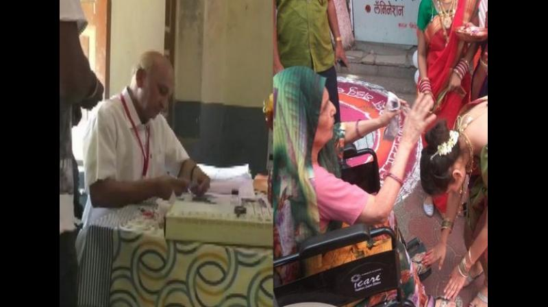A specially-abled staff solely managed the polling booth number 193 at Buldhana Lok Sabha constituency on Thursday during the second phase of the General elections in the state. (Photo: ANI)