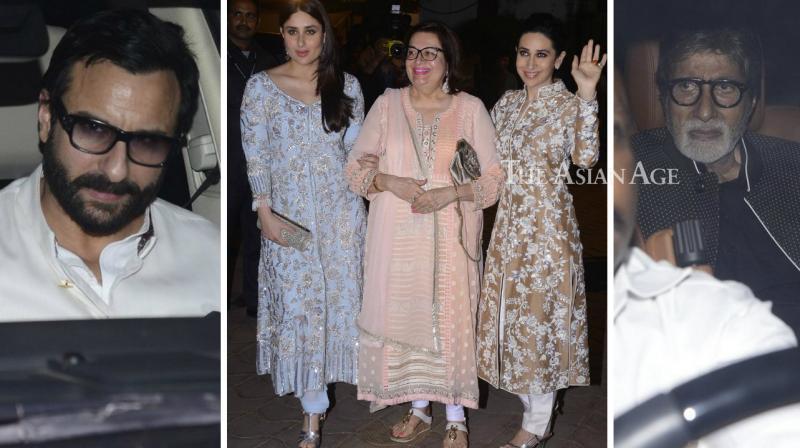 Numerous Bollywood stars were seen making their way for Randhir Kapoor's birthday bash in Mumbai on Wednesday. (Photo: Viral Bhayani)