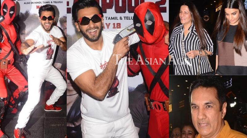 Ranveer Singh was at his goofiest best at a special screening of the film 'Deadpool 2' held in Mumbai on Monday. (Photo: Viral Bhayani)