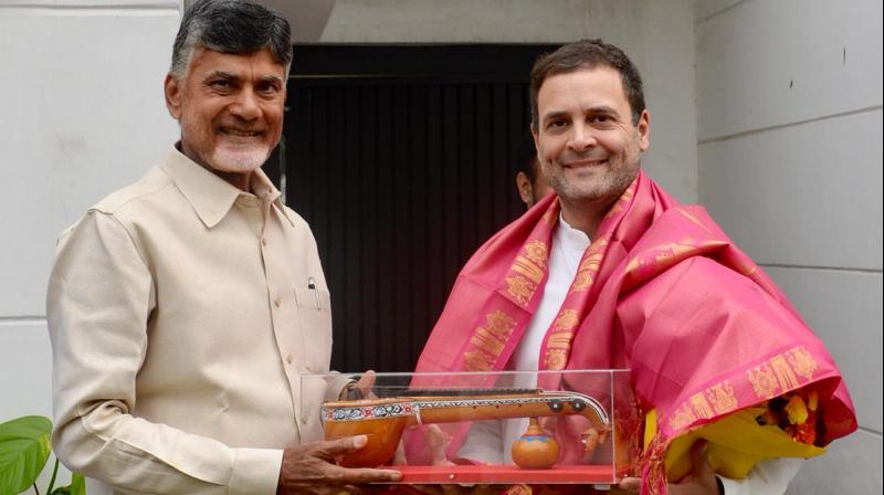 Naidu said, 'TDP and Congress flags are flying together for the first time, this is for the sake of the nation. TDP fought with the Congress for 37 years. Now for the first time, we are working together at the state land central level.' (Photo: File)