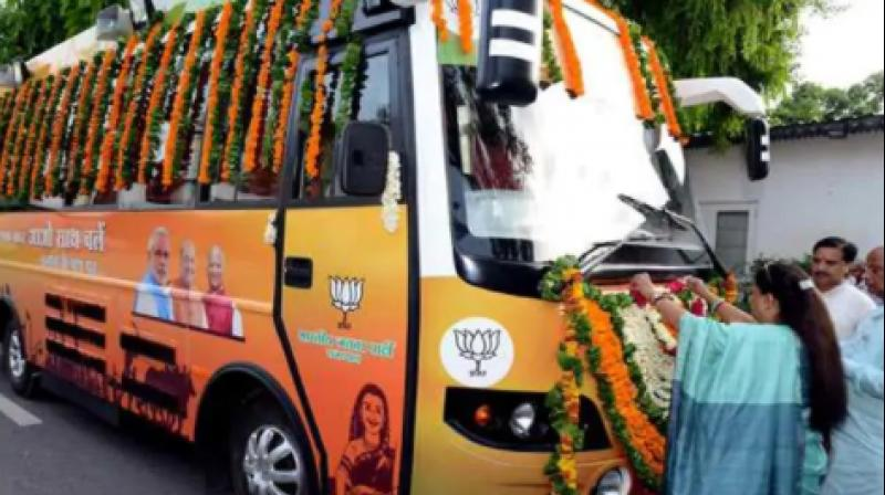 A special prayer of the 'rath', decked with garlands, was performed at the chief minister's residence in Jaipur on Friday evening before it left for Rajsamand. (Photo: VasundharaBJP | Twittter)