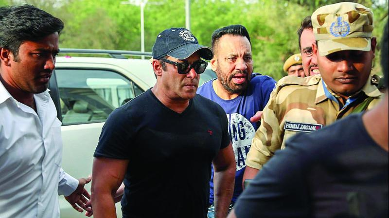 Actor Salman Khan at Jodhpur airport after he was granted bail in the 1998 blackbuck poaching case. (Photo: PTI)