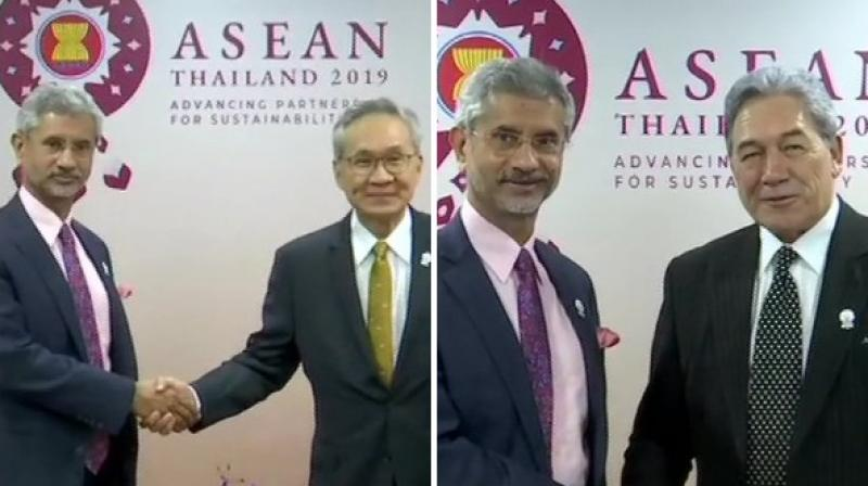 External Affairs Minister S Jaishankar with his counterparts from Thailand and New Zealand respectively in Bangkok. (Photo: ANI)