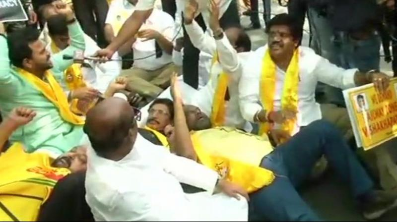The decision to protest was taken after TDP MPs held meeting at YS Chowdary's residence to decide the future course of action. (Photo: ANI/Twitter)