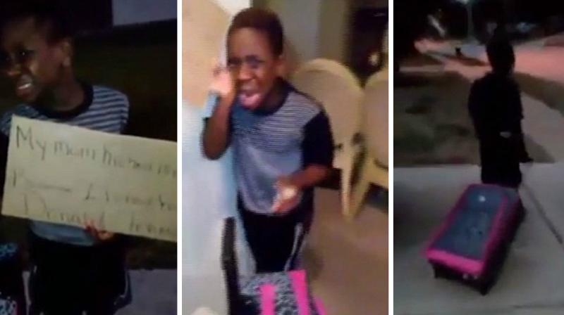 The child was screaming in horror as his mother showed him the way out and even packed his suitcase with all his belongings. (Photo: YouTube)