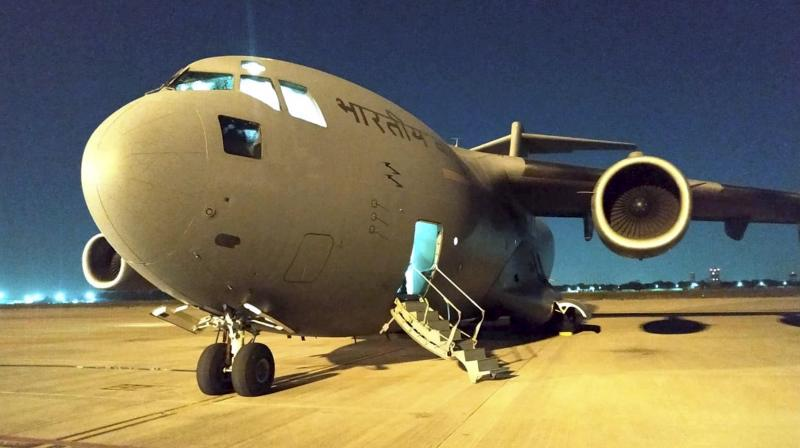 A C-17 Globemaster aircraft of the Indian Air Force before their departure from Hindan airbase for Tehran to airlift Indian citizens, in Hindan. PTI photo