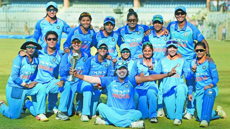 Indian women's team celebrate their series victory over England in Mumbai on Thursday. (Photo: PTI)