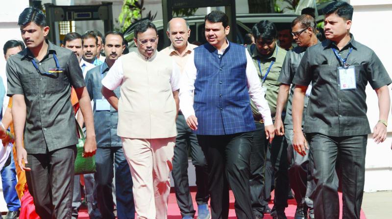 CM Devendra Fadnavis and state education minister Vinod Tawde arrive at Vidhan bhavan on Thursday.(Photo: Rajesh Jadhav)