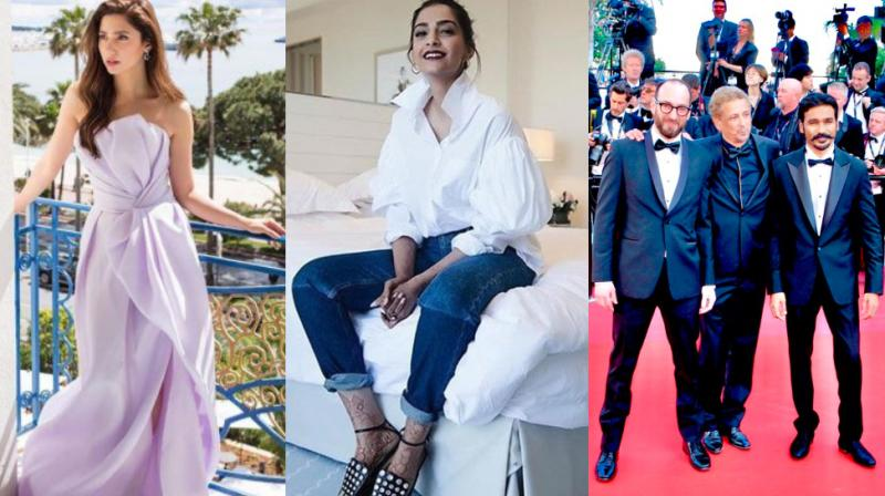 Mahira Khan, Sonam Kapoor Ahuja and Dhanush at Cannes 2018.