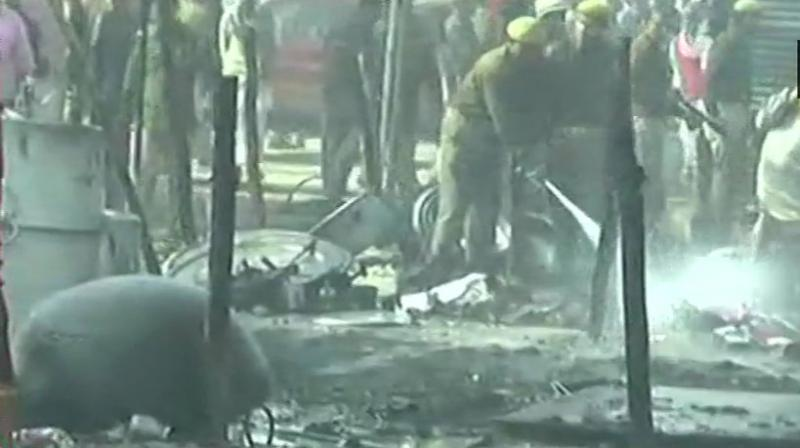 According to police officials, the fire has been doused and the area is being cleared now. (Photo: Twitter   ANI)
