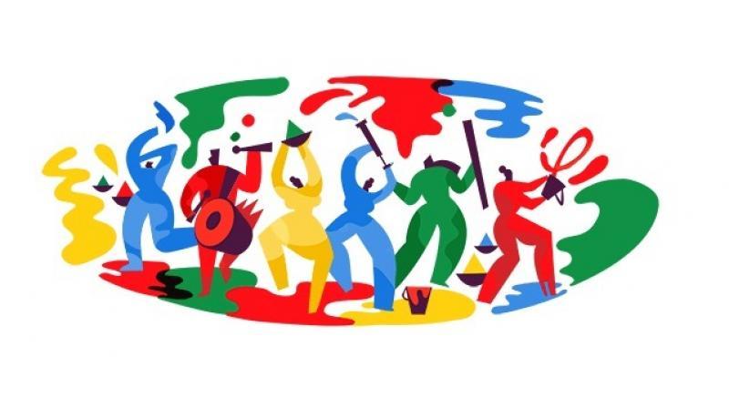 Google marks festival of Holi with colourful doodle. (Photo: Google)
