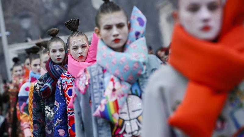eb9604600e7 Models wear creations for Manish Arora s ready-to-wear fall winter 2018