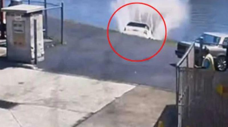The car was removed from water with the help of a towing company. (Photo: Screengrab)
