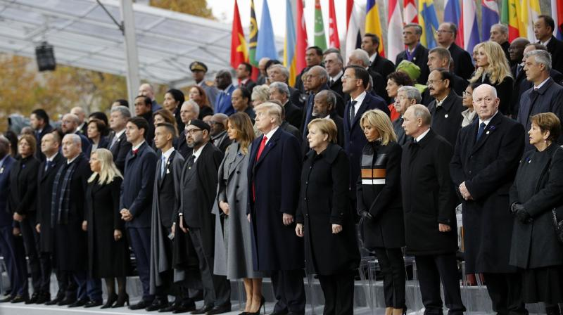 Heads of states and world leaders attend ceremonies at the Arc de Triomphe Sunday, Nov. 11, 2018 in Paris. (Photo: AP)