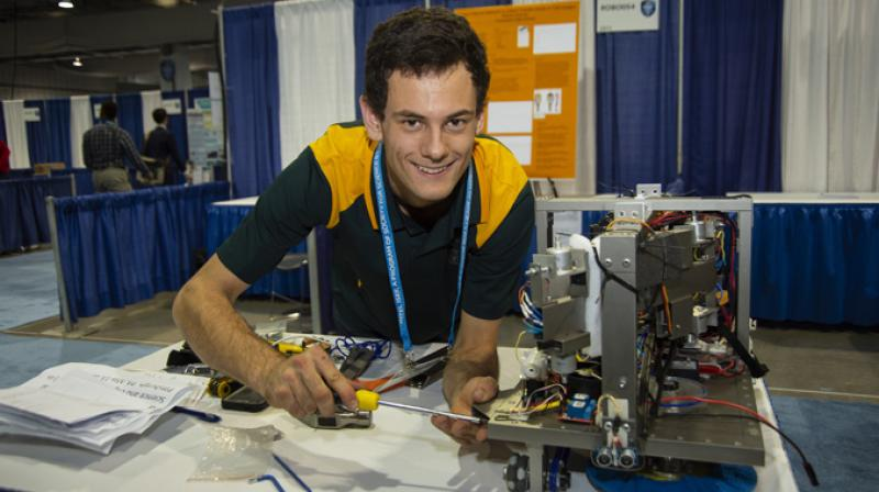 Oliver Nicholls, 19, of Sydney, Australia, was awarded first place on Friday, May 18, 2018, for designing and building a prototype of an autonomous robotic window cleaner for commercial buildings at the 2018 Intel International Science and Engineering Fair, a program of Society for Science & the Public and the world's largest international pre-college science competition. (Credit: Chris Ayers/Society for Science & the Public)