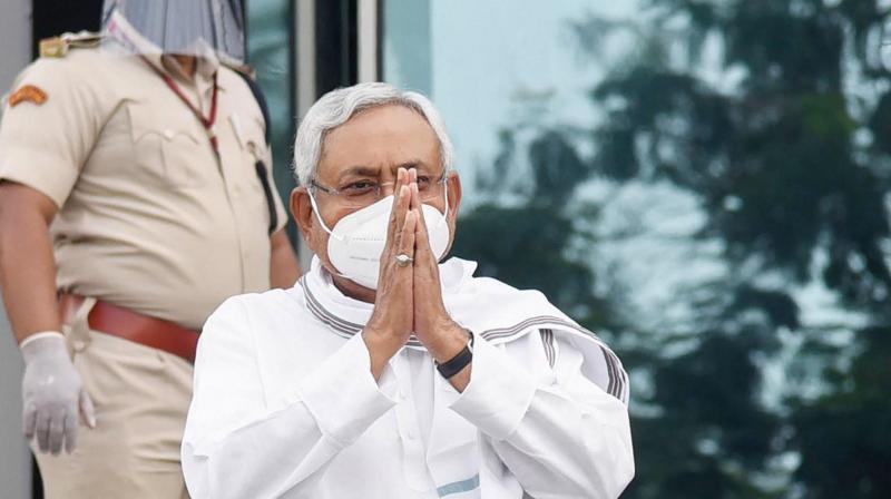 Bihar CM Nitish Kumar outside the Vidhan Bhavan before the start of the session. (PTI)