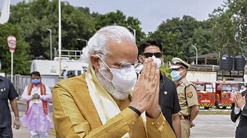 PM Modi attended the bhumi pujan event in Ayodhya. (PTI)