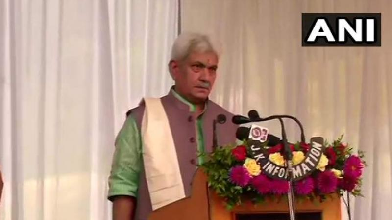 Former minister of state for railways Manoj Sinha takes oath as Jammu and Kashmir's new lieutenant-governor. (ANI)