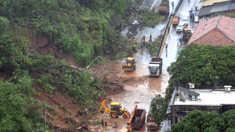 Landslide in South Mumbai's Peddar Road. (Rajesh Jadhav)
