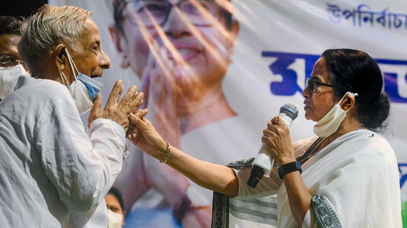 West Bengal Chief Minister Mamata Banerjee during party workers' meeting for Bhabanipur assembly bypoll, in Kolkata. (Photo: PTI)