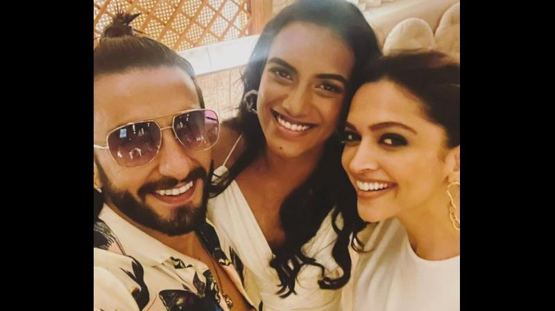 The trio's get together dinner night comes weeks after Sindhu won a bronze medal at the Tokyo Olympics 2020. (Photo: Instagram/ranveersingh)