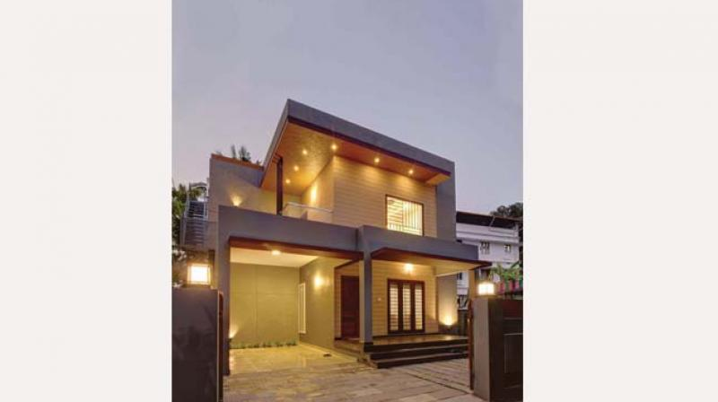 The 2,278-square-feet  house built on an irregular-shaped  five-and-a half-cent plot in Edappally, Kochi, is all  about minimalism.