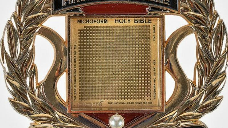 The Lunar Bible on display at the museum. (Photo: AP)