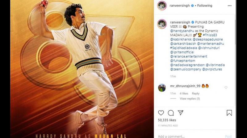 The 34-year-old actor, who will be essaying the role of cricketer Kapil Dev, shared the character poster on Instagram and wrote,