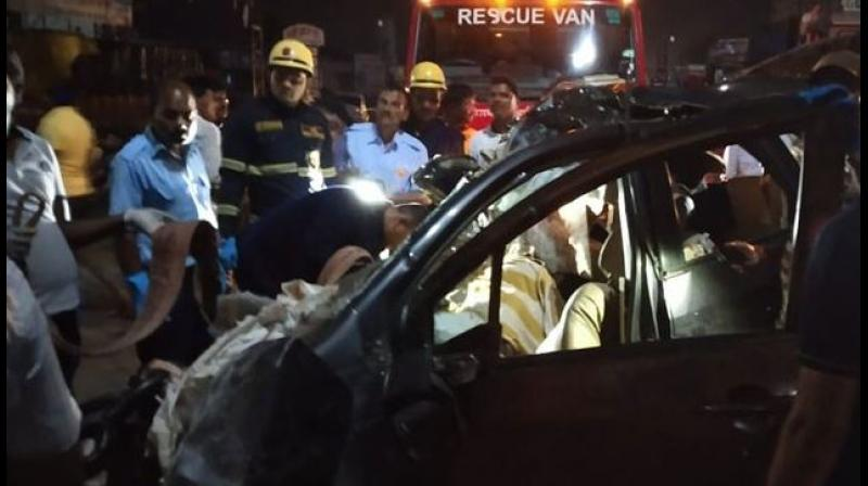 He added that all nine occupants of the car, who were in the age group of 19-23 years, were killed in the accident. (Photo: ANI)