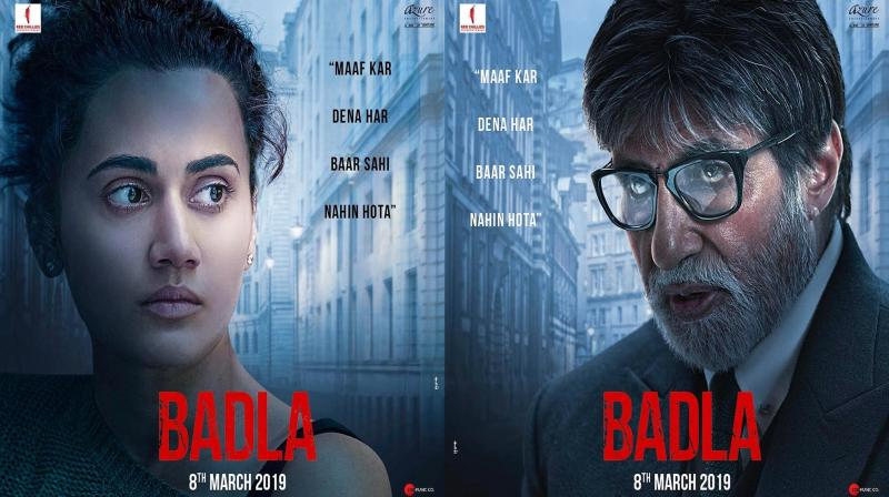 Badla first look featuring Amitabh Bachchan and Taapsee Pannu.